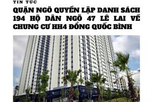 Quận Ngô Quyền lập danh sách 194 hộ dân tại 47 Lê Lai về chung cư HH4