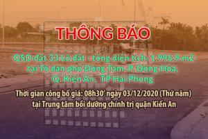 Thông báo đấu giá 33 lô đất tại Đồng Tâm, Kiến An