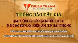 Thông báo đấu giá 47 lô đất tại Khúc Trì, Kiến An, Hải Phòng